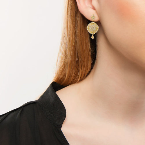 Gold Pave Disc Drop Earrings-Earrings-Freida Rothman-JewelStreet