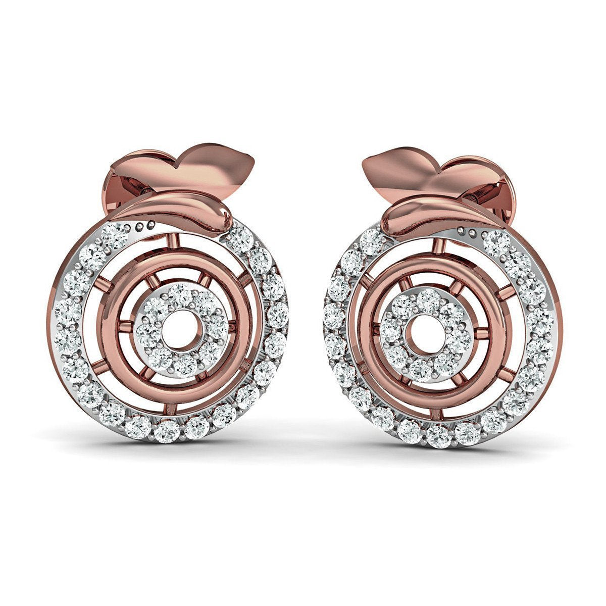Hand-carved 14kt Rose Gold Pave Earrings with Hand-set Premium Quality Diamonds