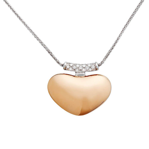 Heart Necklace In Rose And White Gold ,[product vendor],JewelStreet