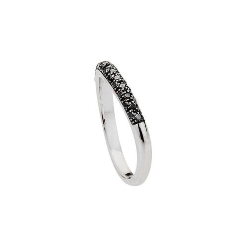 Heart Ring - White Gold With Black Diamonds ,[product vendor],JewelStreet