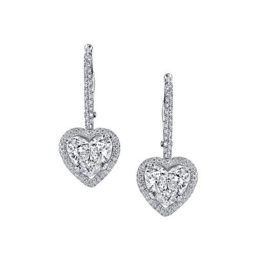 Heart Shape Pave diamond Drop Earrings-Earrings-Harry Kotlar-JewelStreet