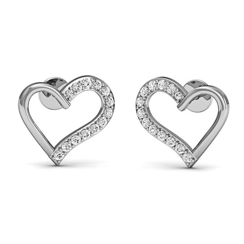 Heart Shaped 18kt White Gold Pave Diamond Earrings-Earrings-Diamoire Jewels-JewelStreet