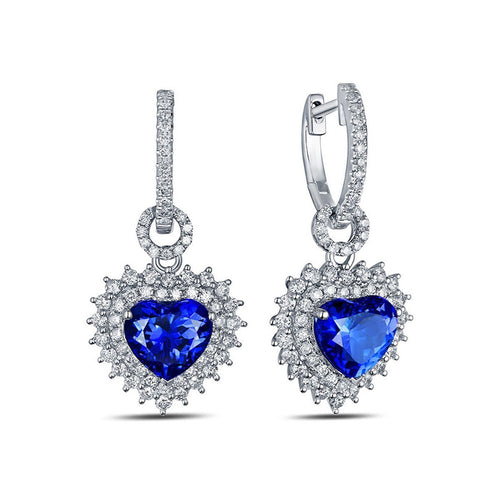 Heart Tanzanite Diamond Earrings-Earrings-SILVER YULAN-JewelStreet