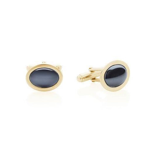 Hematite and Yellow Gold Cufflinks-Cufflinks-Augustine Jewels-JewelStreet