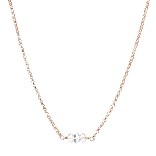 Herkimer Diamonds On Rose Gold Necklace-Necklaces-Heather Kenealy Jewelry-JewelStreet