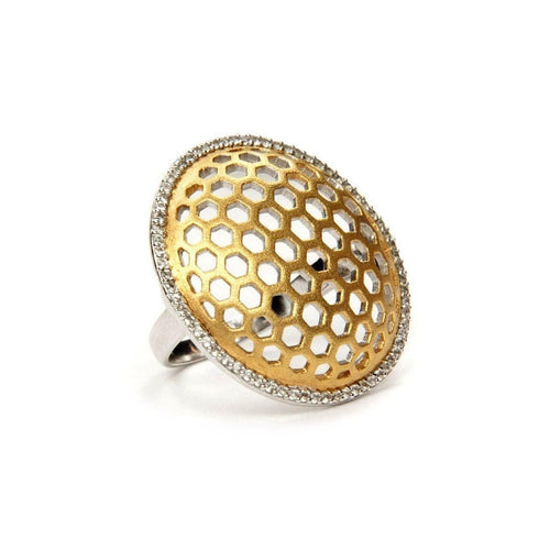 Honeycomb Gold Statement Ring-Rings-Gia Belloni-JewelStreet
