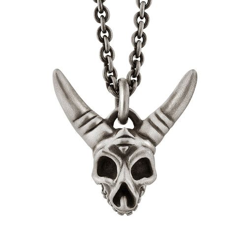 Horned Skull Pendant With Hinged Jaw in Sterling Silver-Necklaces-Snake Bones-JewelStreet