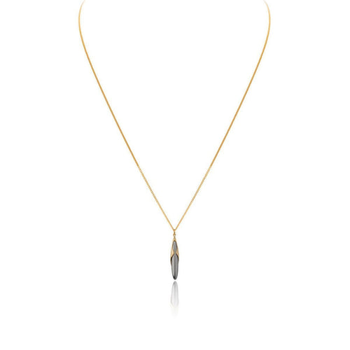 Hun Pitou Duel Length Yellow Gold and Black Rhodium Pendant-Necklaces-Vurchoo-JewelStreet