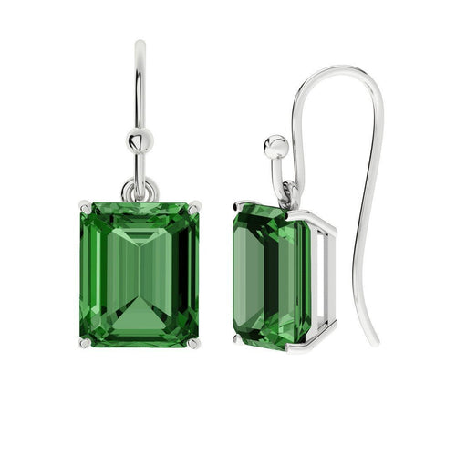 Hydrothermal Emerald, Emerald Cut Silver Drop Earrings-Earrings-StyleRocks-JewelStreet