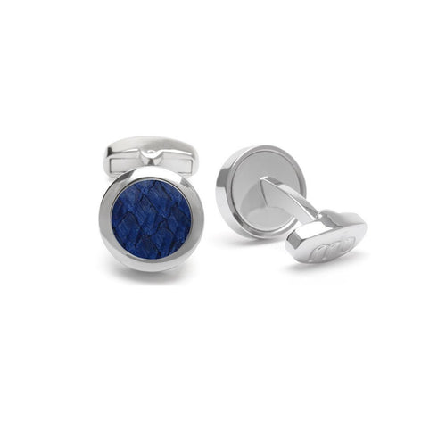 Indigo Atlantic Salmon Leather Cufflinks - Stainless Steel-Cufflinks-Marlin Birna-JewelStreet