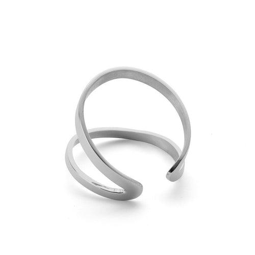 Indochine Ring in Shiny White Gold Plated-Rings-EKRIA-JewelStreet