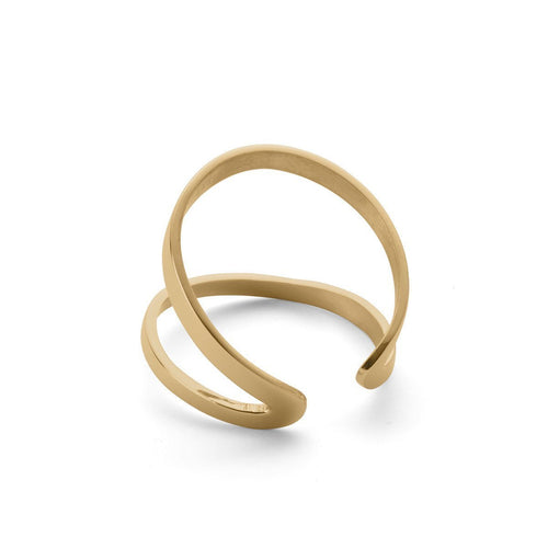 Indochine Ring in Shiny Yellow Gold Plated-Rings-EKRIA-JewelStreet
