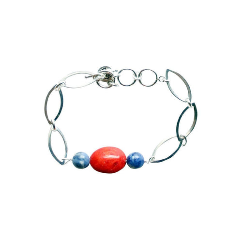 Ingrid Sterling Coral Bangle-Bracelets-Lucy and Penny-JewelStreet