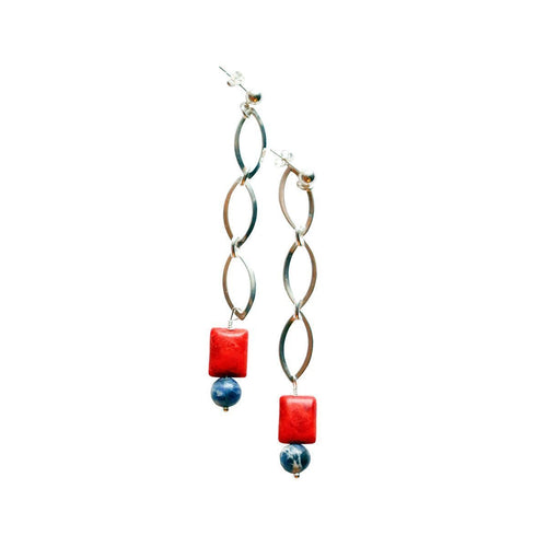 Ingrid Sterling Coral Earrings-Earrings-Lucy and Penny-JewelStreet