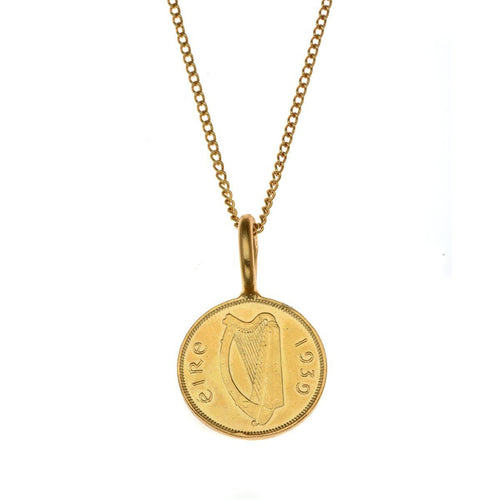 Irish 6 Pence Gold Plated Coin-Necklaces-Katie Mullally-JewelStreet