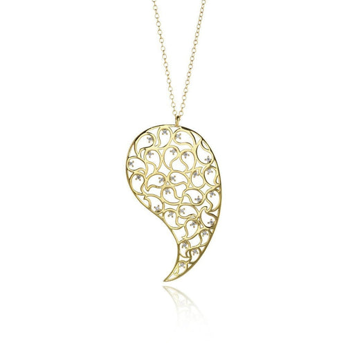 Jaali Gold Pendant with Clear Cubic Zirconia-Necklaces-Sonal Bhaskaran-JewelStreet