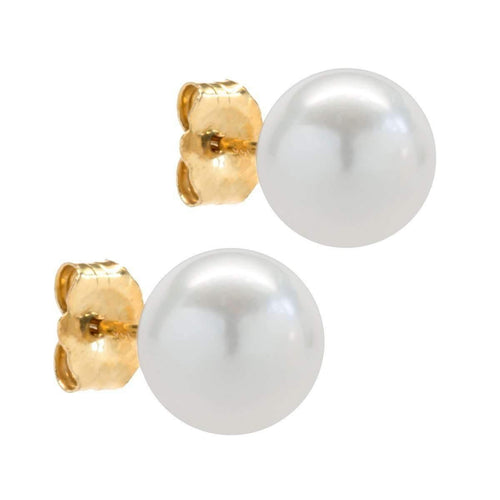 Japanese Akoya Cultured Pearl Stud Earrings Yellow Gold-Earrings-Isaac Westman-JewelStreet