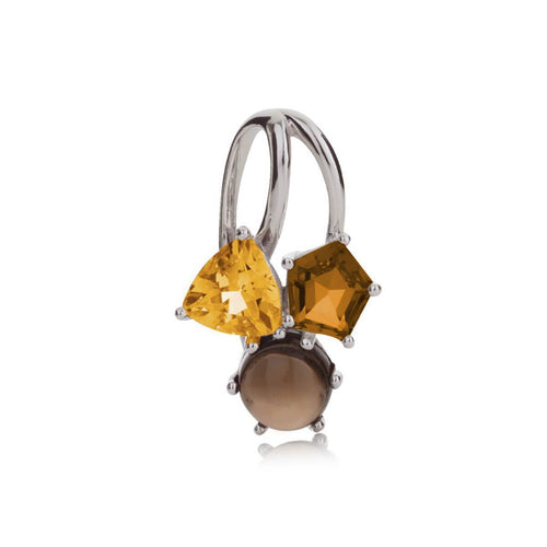 Kintana Citrine, Cognac Quartz & Smoky Quartz Pendant ,[product vendor],JewelStreet