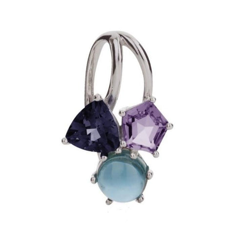 Kintana pendant Set With A Blue Topaz, Iolite and Amethyst-Necklaces-MANJA Jewellery-JewelStreet