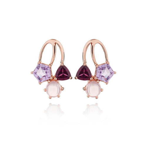 Kintana Rose Gold Amethyst, Rhodolite & Rose Quartz Earrings ,[product vendor],JewelStreet