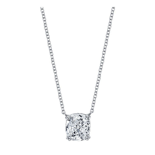 Kotlar Cushion Diamond Solitaire Arabesque Necklace-Necklaces-Harry Kotlar-JewelStreet