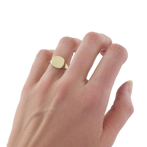 Ladies Gold Cushion-Shaped Signet Ring ,[product vendor],JewelStreet