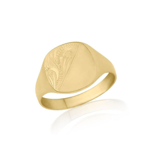 Ladies Gold Engraved Cushion-Shaped Signet Ring ,[product vendor],JewelStreet