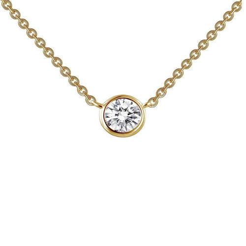 Lafonn Yellow Gold Plated Bezel-set Solitaire Necklace ,[product vendor],JewelStreet