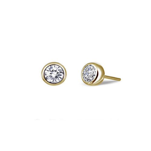 Lafonn Yellow Gold Plated Bezel-set Stud Earrings, 0.50cts ,[product vendor],JewelStreet