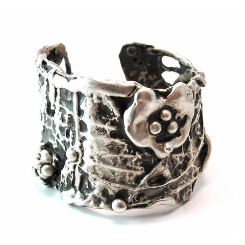 Large Ophelia Sterling Silver Cuff-Bracelets-Private Opening-JewelStreet