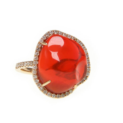 Lava Fire Opal & Diamond Ring ,[product vendor],JewelStreet
