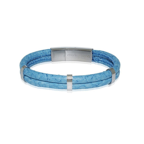 Atlantic Salmon Leather Bracelet Steel L-Blue-Bracelets-Marlin Birna-JewelStreet