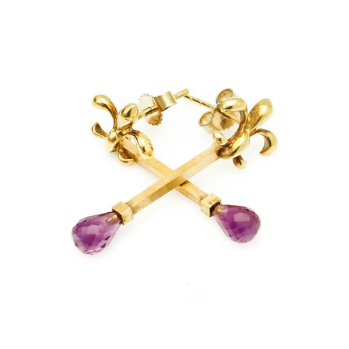 Limited Edition 18kt Gold Lily and Amethyst Earrings ,[product vendor],JewelStreet