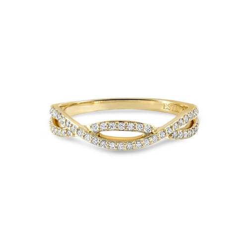 Lola Yellow Gold Diamond Stacking Ring-Rings-Estenza-JewelStreet