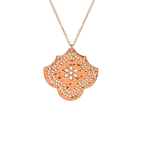 Long Necklace With Flower Pendant In Rose Gold ,[product vendor],JewelStreet