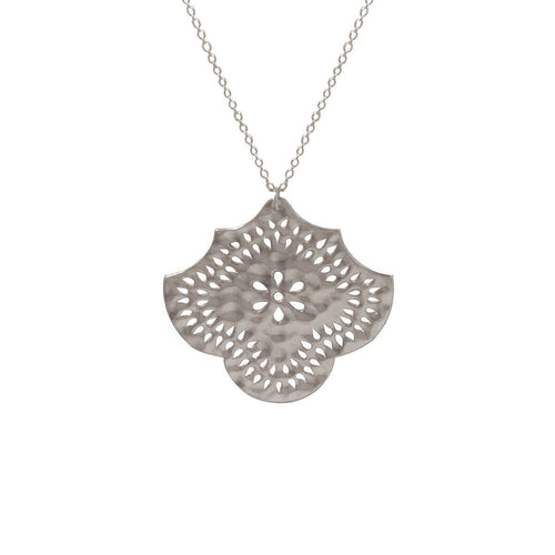 Long Necklace With Flower Pendant In Sterling Silver ,[product vendor],JewelStreet