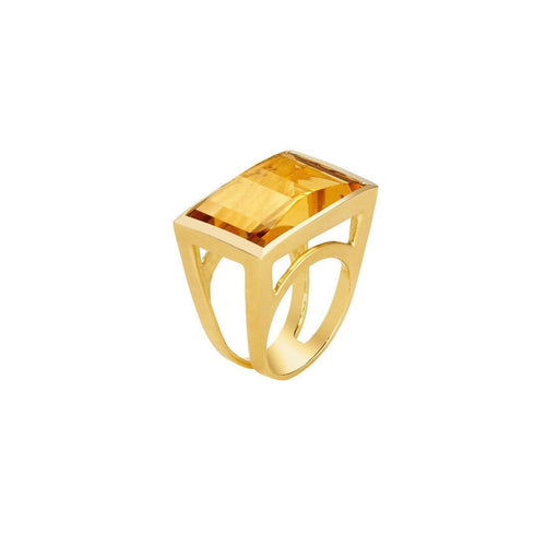 Luminous Large Citrine Rectangle Ring-Rings-Sandy Leong-JewelStreet
