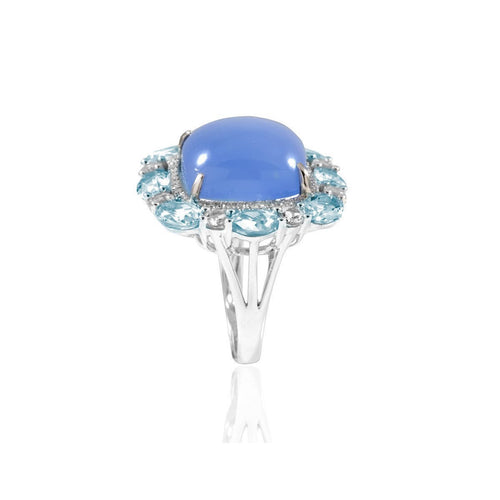 Lydia White Gold Chalcedony Ring-Rings-Estenza-JewelStreet
