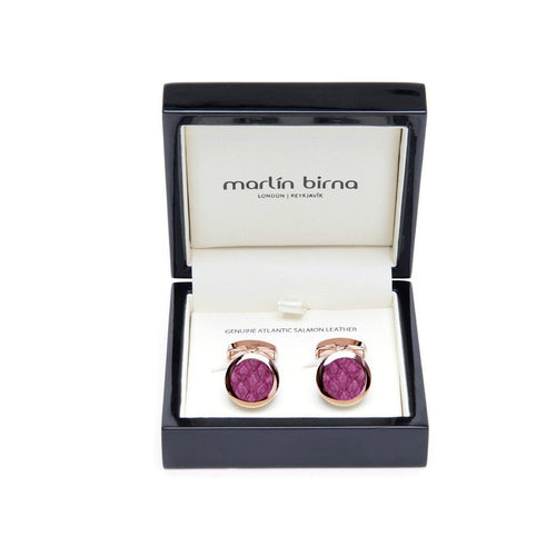 Atlantic Salmon Leather Cufflinks - Rose Gold Finished Stainless Steel With Magenta-Cufflinks-Marlin Birna-JewelStreet