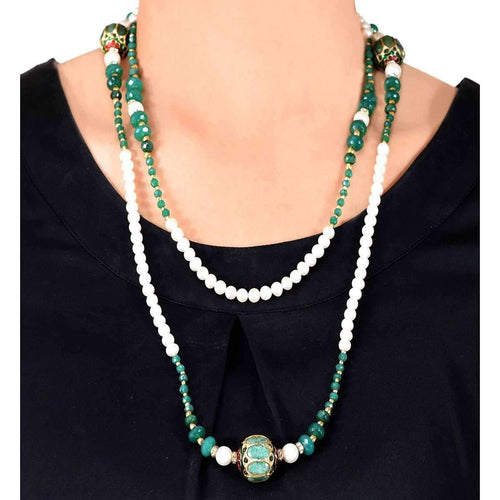Magnifique Pearl Necklace with Onyx, Diamantes and Beads-M's Gems by Mamta Valrani-JewelStreet US