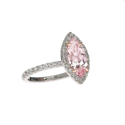 Marquise Cut Morganite Diamond Halo Ring-Rings-Oh my Christine Jewelry-JewelStreet