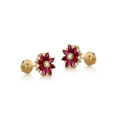 Marquise Cut Ruby Flower Studs-Earrings-SILVER YULAN-JewelStreet