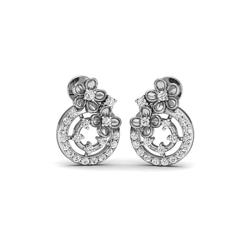 Maudlin Diamond Studs in 18kt White Gold-Earrings-Diamoire Jewels-JewelStreet