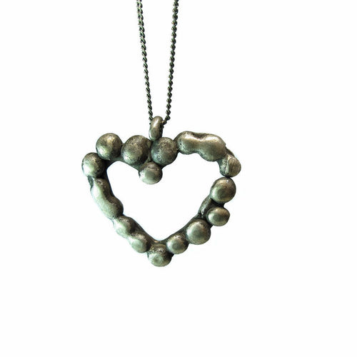 Melting Heart Granulated Oxidized Silver Heart Pendant-Necklaces-Private Opening-JewelStreet