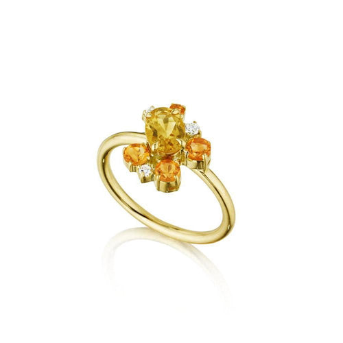 Melting Ice Citrine Cluster Ring-Rings-Madstone Design-JewelStreet