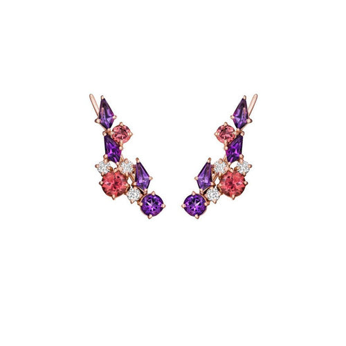Melting Ice Ear Climber With Amethyst-Earrings-Madstone Design-JewelStreet