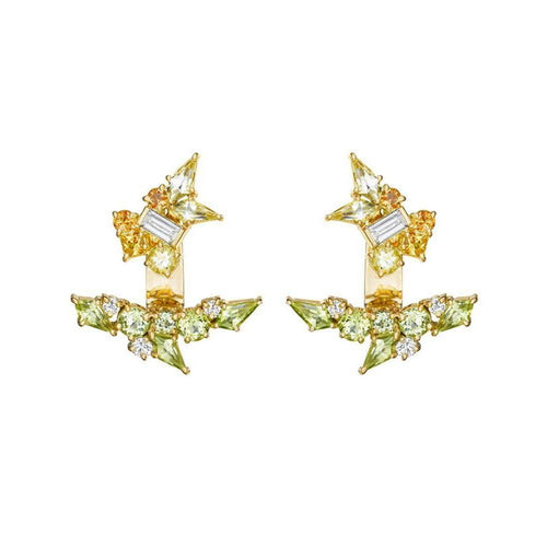 Melting Ice Kite Studs With Under Ear Jacket and Diamonds, Yellow Sapphire, Citrine and Peridot-Earrings-Madstone Design-JewelStreet