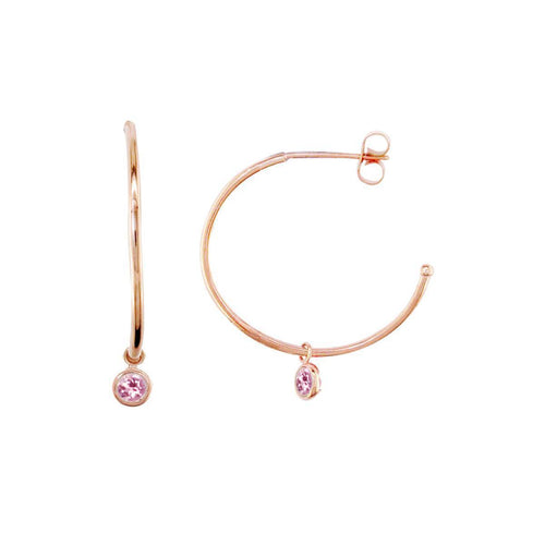 Modern Rose Gold Pink Tourmaline Dew Drop Hoops ,[product vendor],JewelStreet