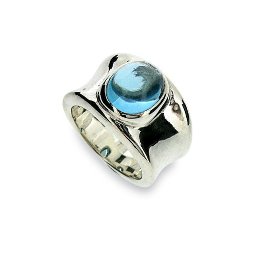 Blue Topaz Molten Silver Ring-Rings-Will Bishop-JewelStreet