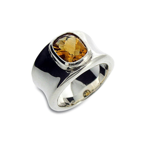 Molten Silver and Citrine Ring-Rings-Will Bishop-JewelStreet